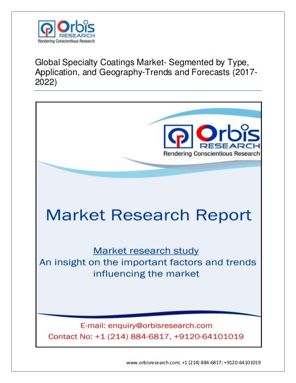 Specialty Coatings Market Global by Applications (