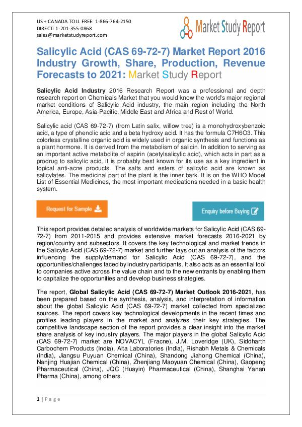 Global Salicylic Acid Market Development Status and Overview Forecast Global Salicylic Acid Market Development Status an