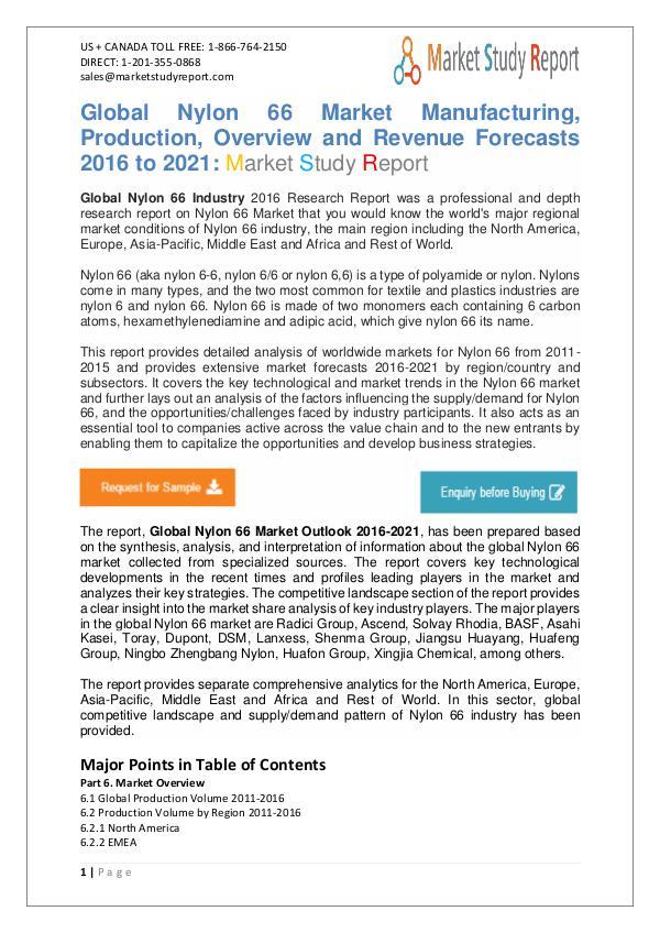 Market Watch - Global Nylon 66 Market 2016 to 2021 Market Watch - Global Nylon 66 Industry 2016