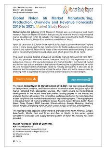 Market Watch - Global Nylon 66 Market 2016 to 2021