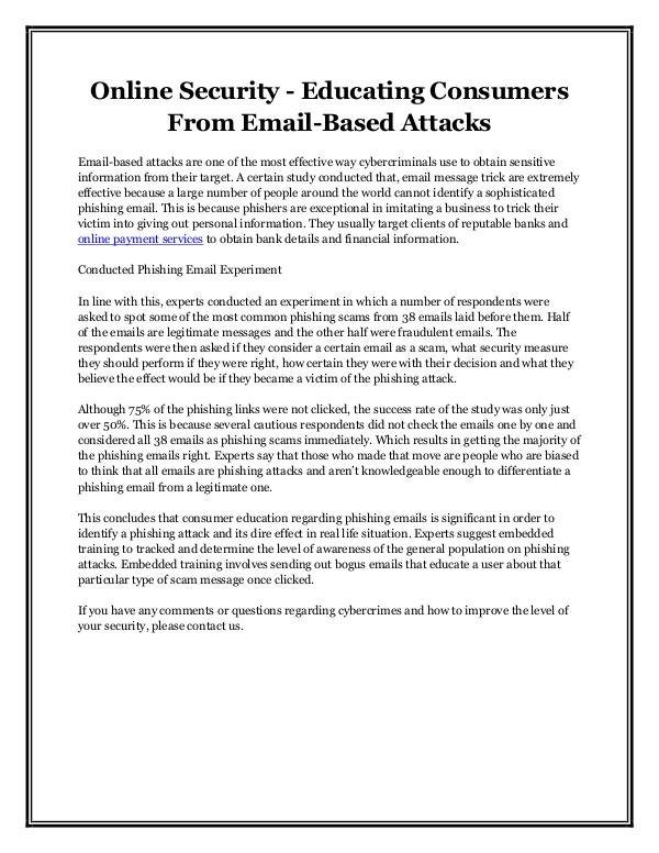 Online Security - Educating Consumers From Email-Based Attacks Online Security - Educating Consumers From Email-B