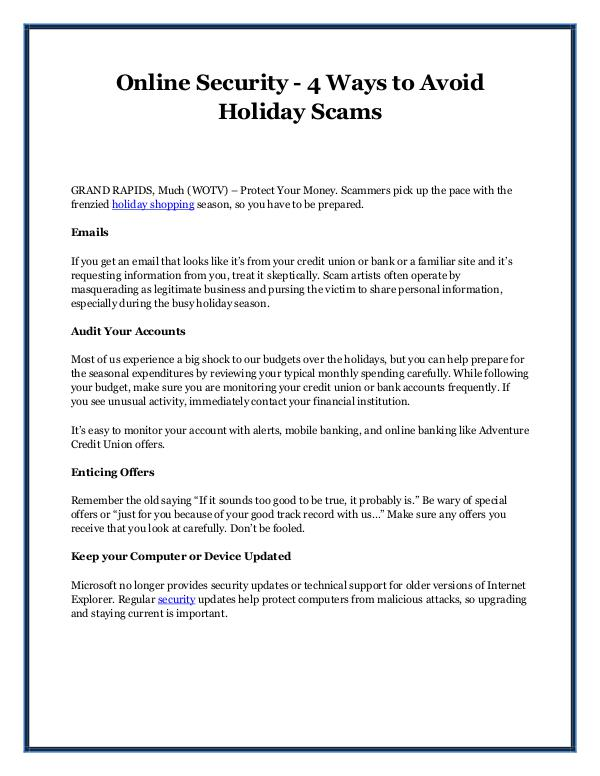 Online Security - 4 Ways to Avoid Holiday Scams Online Security - 4 Ways to Avoid Holiday Scams