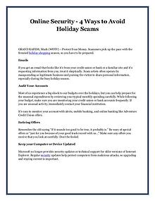 Online Security - 4 Ways to Avoid Holiday Scams