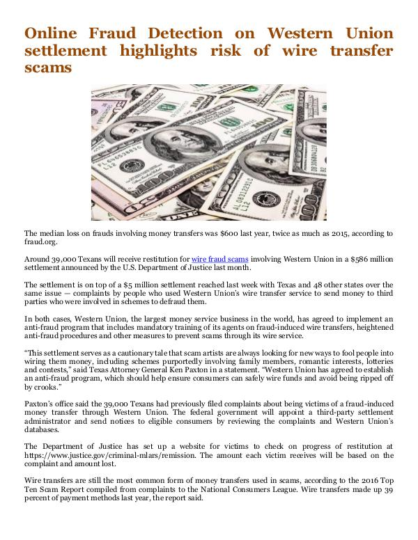 Online Info Blog Western Union settlement highlights risk of wire