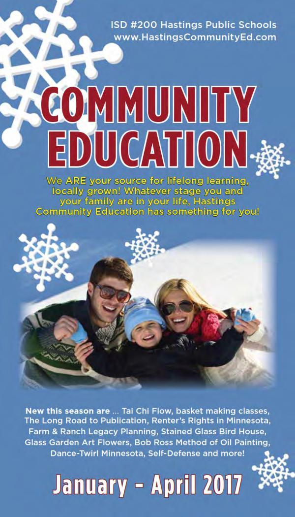 2017 Winter Catalog - Hastings Community Education Winter 2017 Catalog