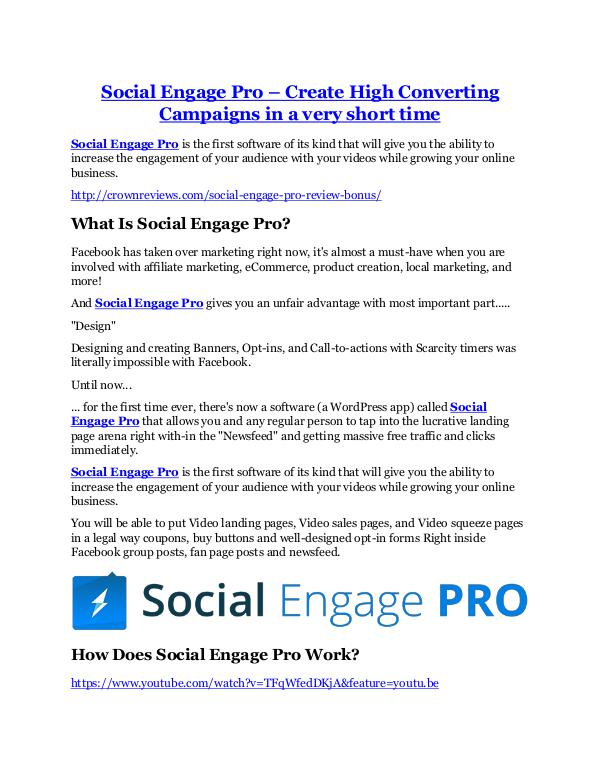 Social Engage Pro review in detail and (FREE) $21400 bonus Social Engage Pro review - Social Engage Pro +100