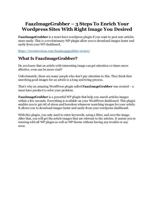 FaazImageGrabber Review - MASSIVE $23,800 BONUSES NOW! FaazImageGrabber Review and Premium $14,700 Bonus