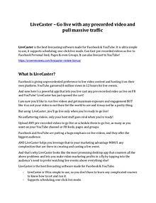 LiveCaster review and $26,900 bonus - AWESOME!