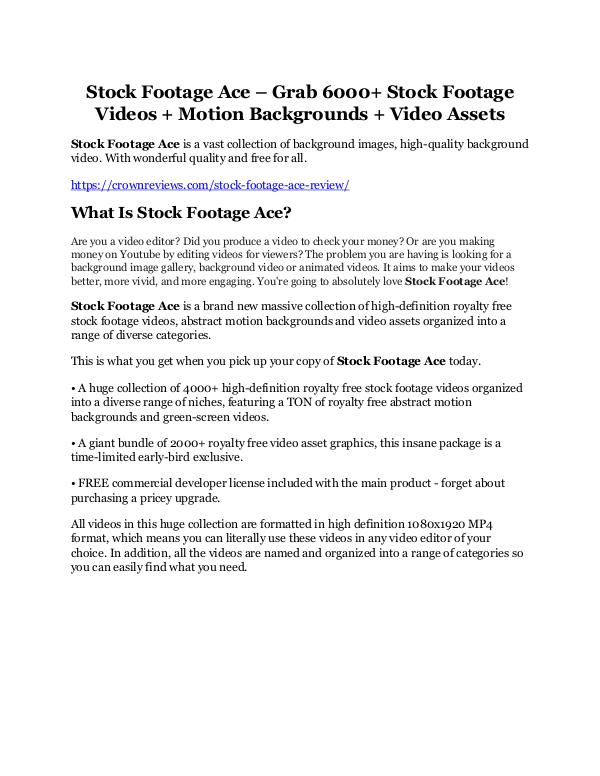 Stock Footage Ace Review and (Free) GIANT $14,600 BONUS Stock Footage Ace Review and Premium $14,700 Bonus