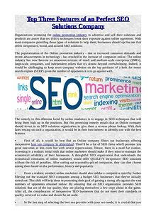 Top Three Features of an Perfect SEO Solutions Company