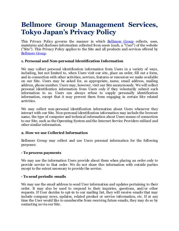 Bellmore Group Management Services, Tokyo Japan Privacy Policy