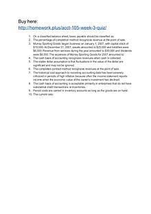 ACCT 105 Week 3 Quiz