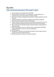 ACCT 105 Week 7 Quiz