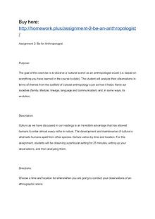 Assignment 2: Be An Anthropologist