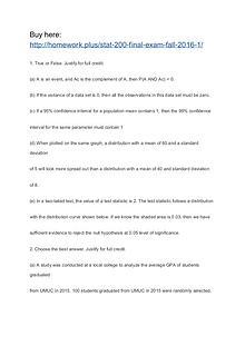 STAT 200 Final Exam (FALL 2016)