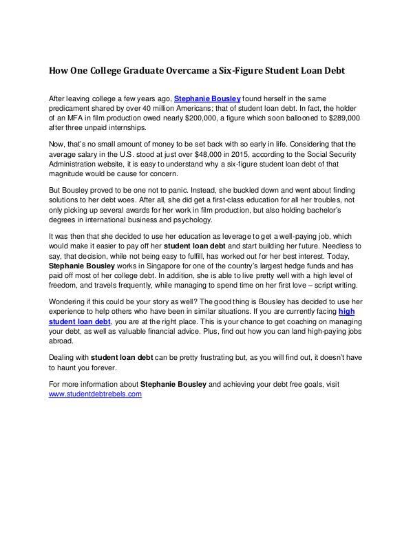 Overcome Six figure Student Loan Debt | Student Debt Rebels Overcome Six figure Student Loan Debt