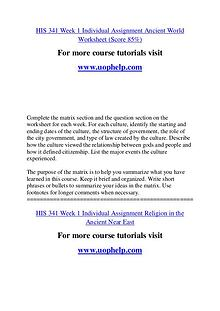 HIS 341 Education Begins/uophelp.com