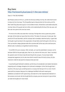 Case 2-1 THE CEO RETIRES