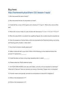 CHEM 131 Lesson 1 Quiz