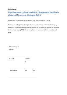 Exercise 8-18 Supplemental LIFO disclosures; LIFO reserve; Steelcase