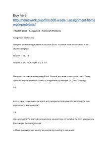 FINC 600 Week 1 Assignment Homework Problems