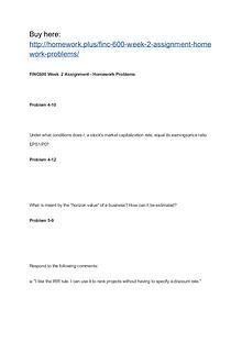 FINC 600 Week 2 Assignment Homework Problems