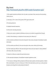 FINC 600 Week 6 Practice Quiz
