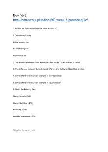 FINC 600 Week 7 Practice Quiz