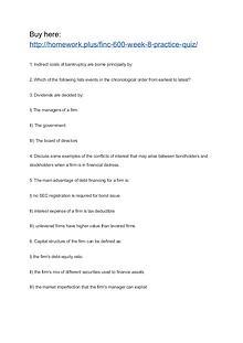 FINC 600 Week 8 Practice Quiz