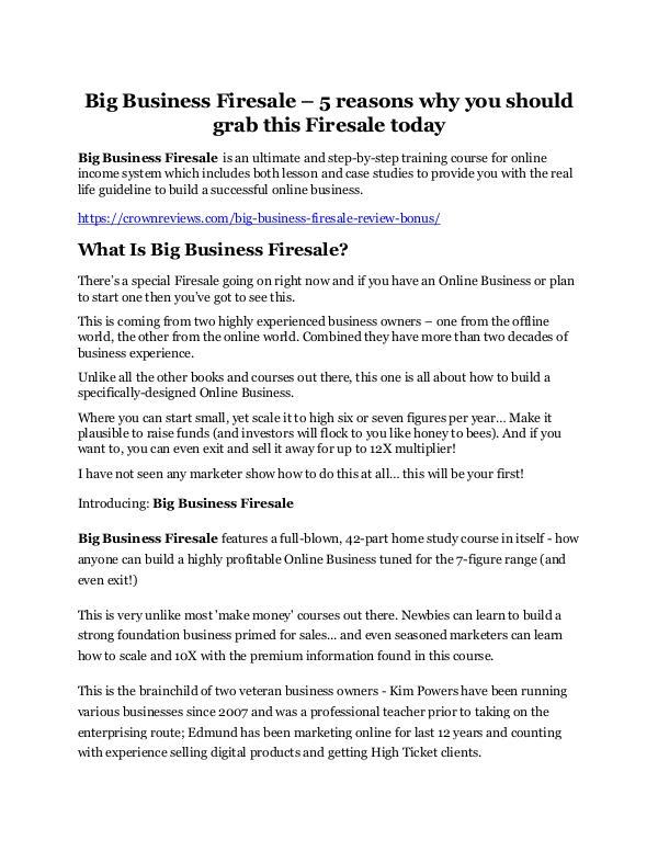 Big Business Firesale Review & GIANT Bonus Big Business Firesale Review