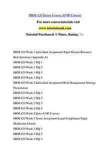 HRM 42O Course Great Wisdom / tutorialrank.com