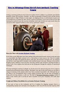 How to Advantage From Aircraft Auto mechanic Coaching Course
