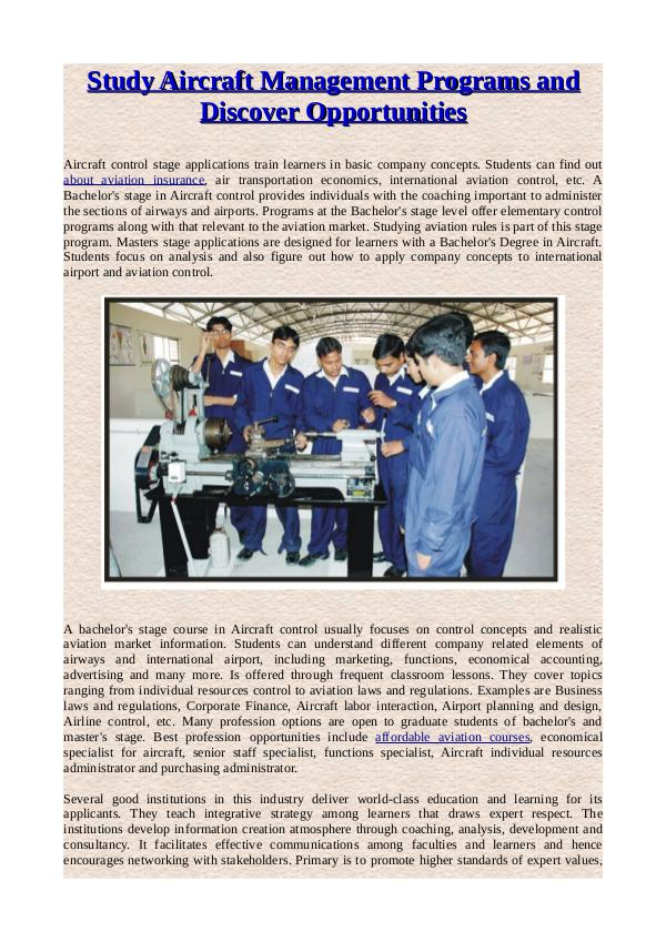 Study Aircraft Management Programs and Discover Opportunities Study Aircraft Management Programs and Discover Op