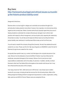 Legal and ethical issues surrounding the historic product liability c