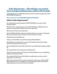 Tube King Income review & bonus - I was Shocked!
