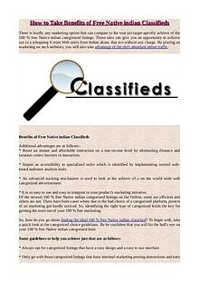 How to Take Benefits of Free Native indian Classifieds