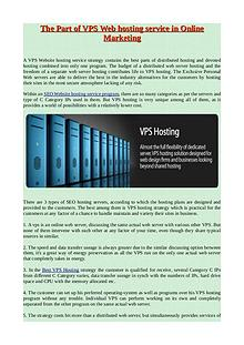 The Part of VPS Web hosting service in Online Marketing
