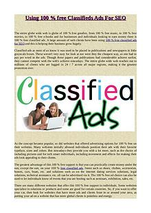 Using 100 % free Classifieds Ads For SEO