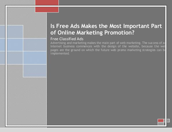 Is Free Ads Makes the Most Important Part of Online Marketing free classifieds