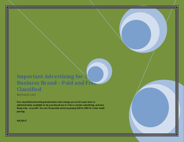 Important Advertising for Your Business Brand – Paid and Free Classif Important Advertising for Your Business Brand – Pa