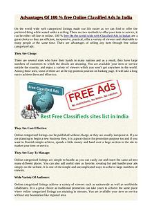 Advantages Of 100 % free Online Classified Ads In India