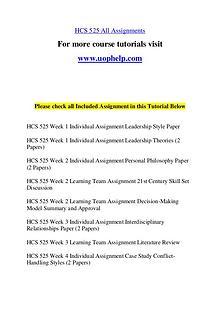 HCS 525 Endless Education /uophelp.com