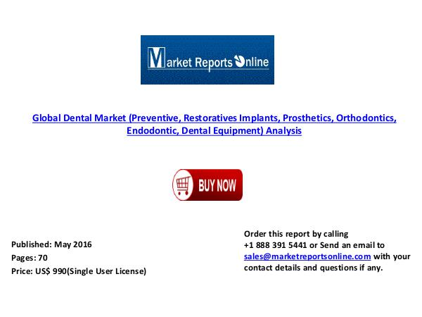 Global Dental Market (Preventive, Restoratives Implants, Prosthetics) May 2016