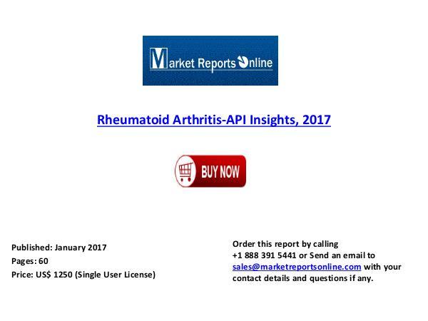 Rheumatoid Arthritis-API Market Forecast to 2017 Jan 2017