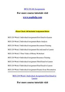 HCS 219 Endless Education /uophelp.com