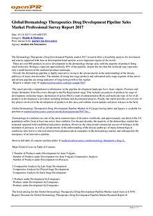 Outlook of Global Dermatology Therapeutics Drug Development Pipeline
