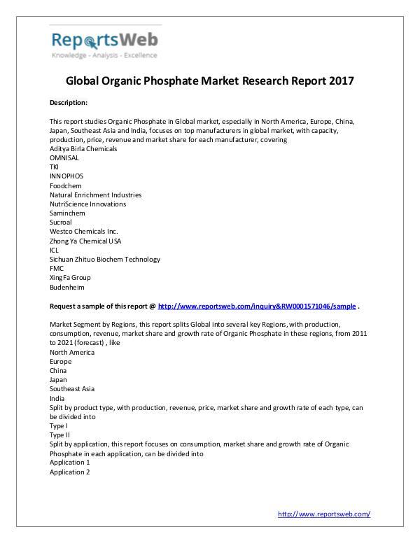 Market Analysis Organic Phosphate Market - Global Trends Study