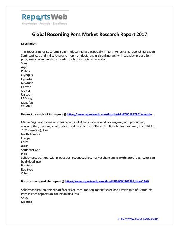 Market Analysis Latest Study: 2017 Global Recording Pens Market