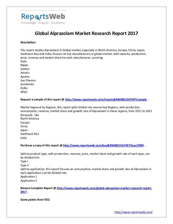 Market Analysis Alprazolam Industry 2017-2022 Global Market Report