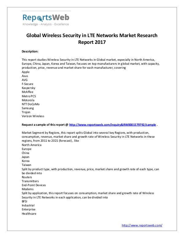 Market Analysis Global Wireless Security in LTE Networks Industry
